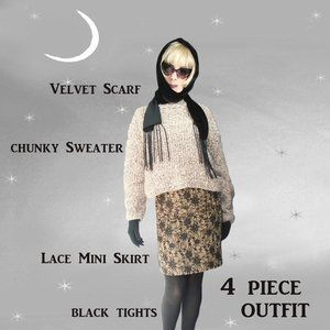 Bulky Cropped Sweater, Black Lace Mini Skirt, Velvet Scarf, Black Tights / Small